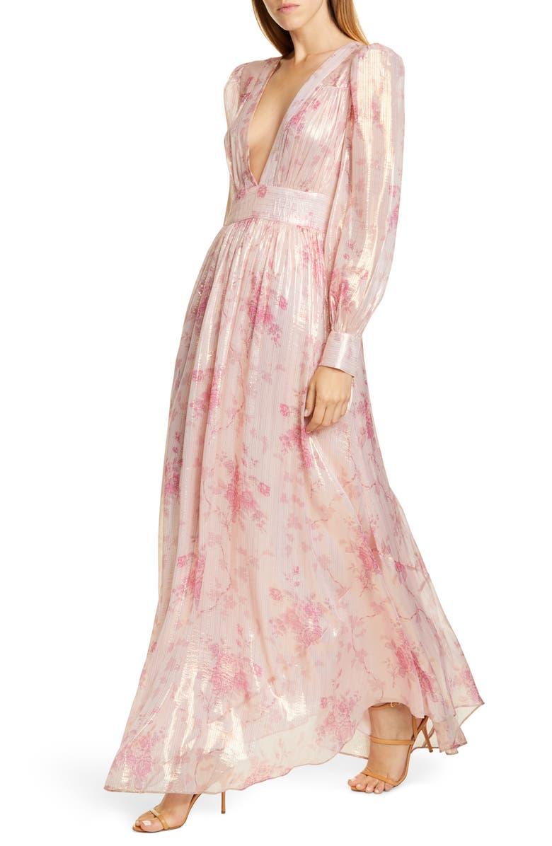 LOVESHACKFANCY Cyrena Metallic Shine Lon Sleeve Maxi Dress, Main, color, PALE ROSE PINK