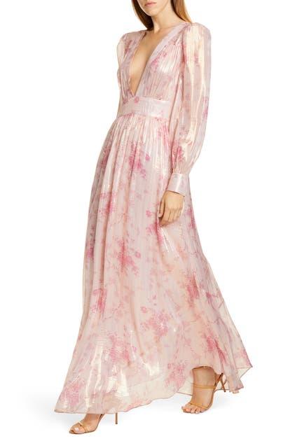 Loveshackfancy Dresses CYRENA METALLIC SHINE LON SLEEVE MAXI DRESS
