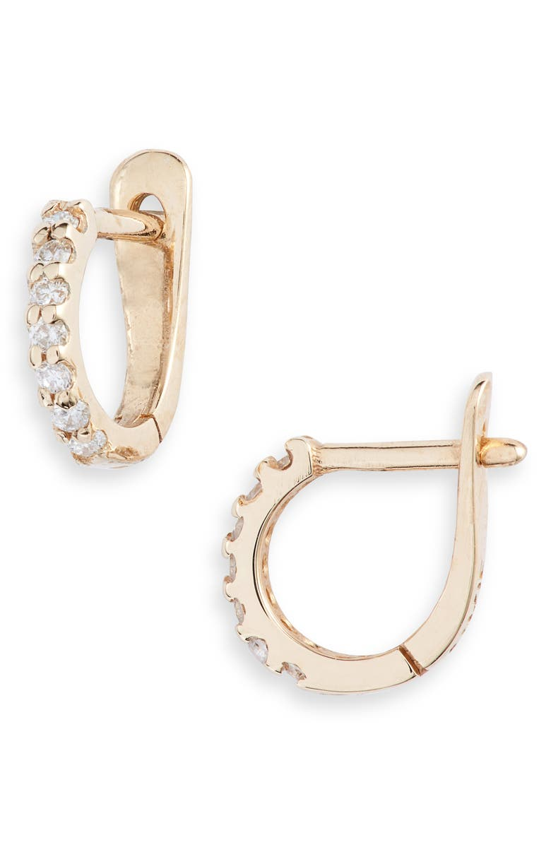 ANZIE Cleo Pavé Diamond Huggie Hoop Earrings, Main, color, 710