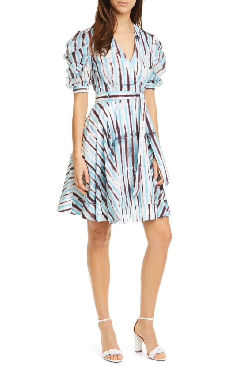 DVF Indra Cotton Poplin Wrap Dress, Main, color, TIE DYE RAIN