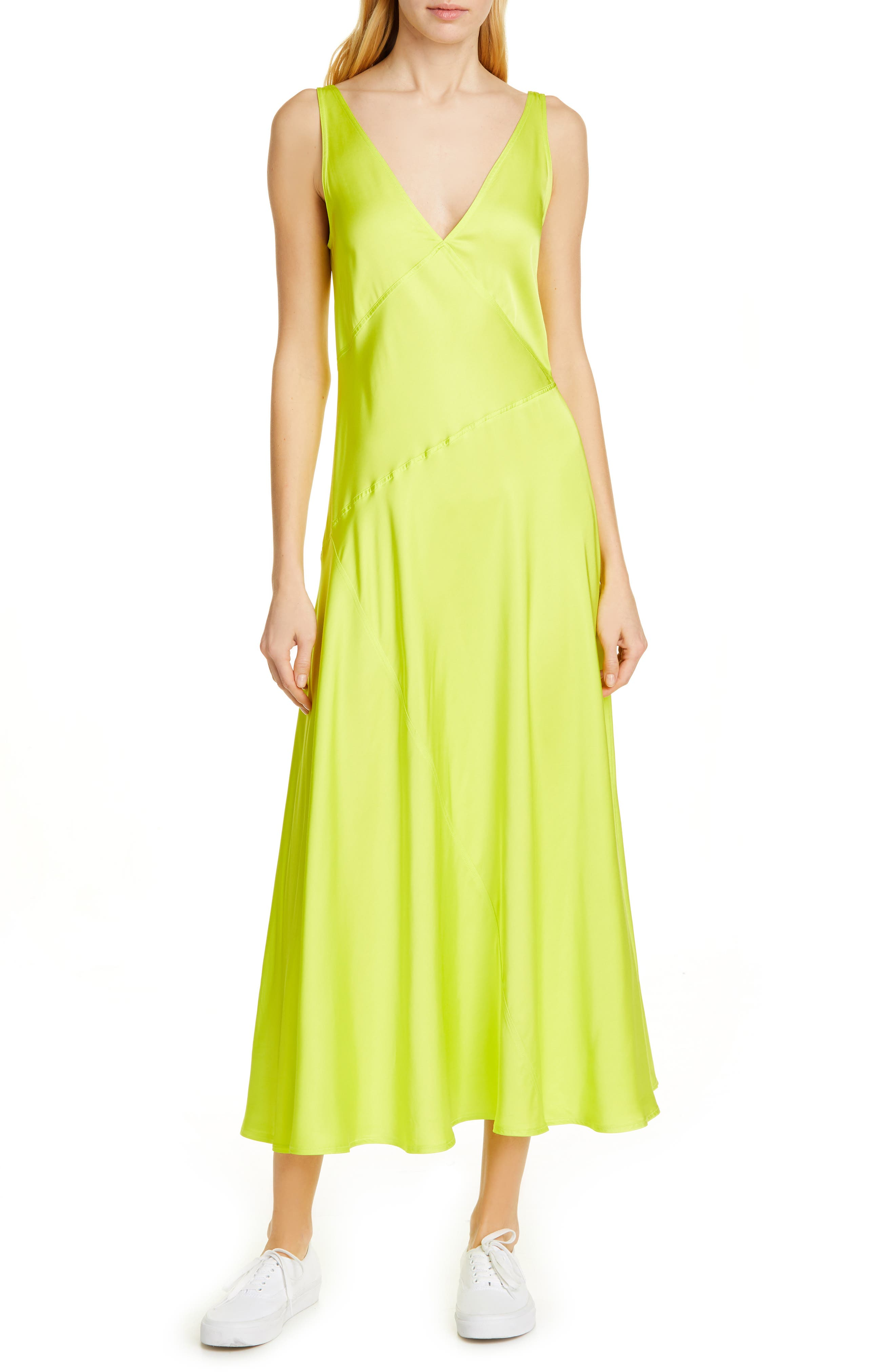 Polo Ralph Lauren Sleeveless Satin Maxi Dress, Yellow