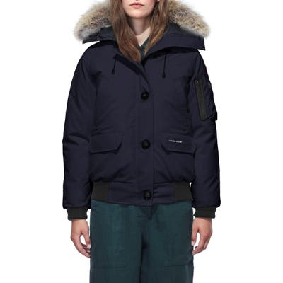 Canada Goose Chilliwack Hooded Down Bomber Jacket With Genuine Coyote Fur Trim, (2-4) - Blue