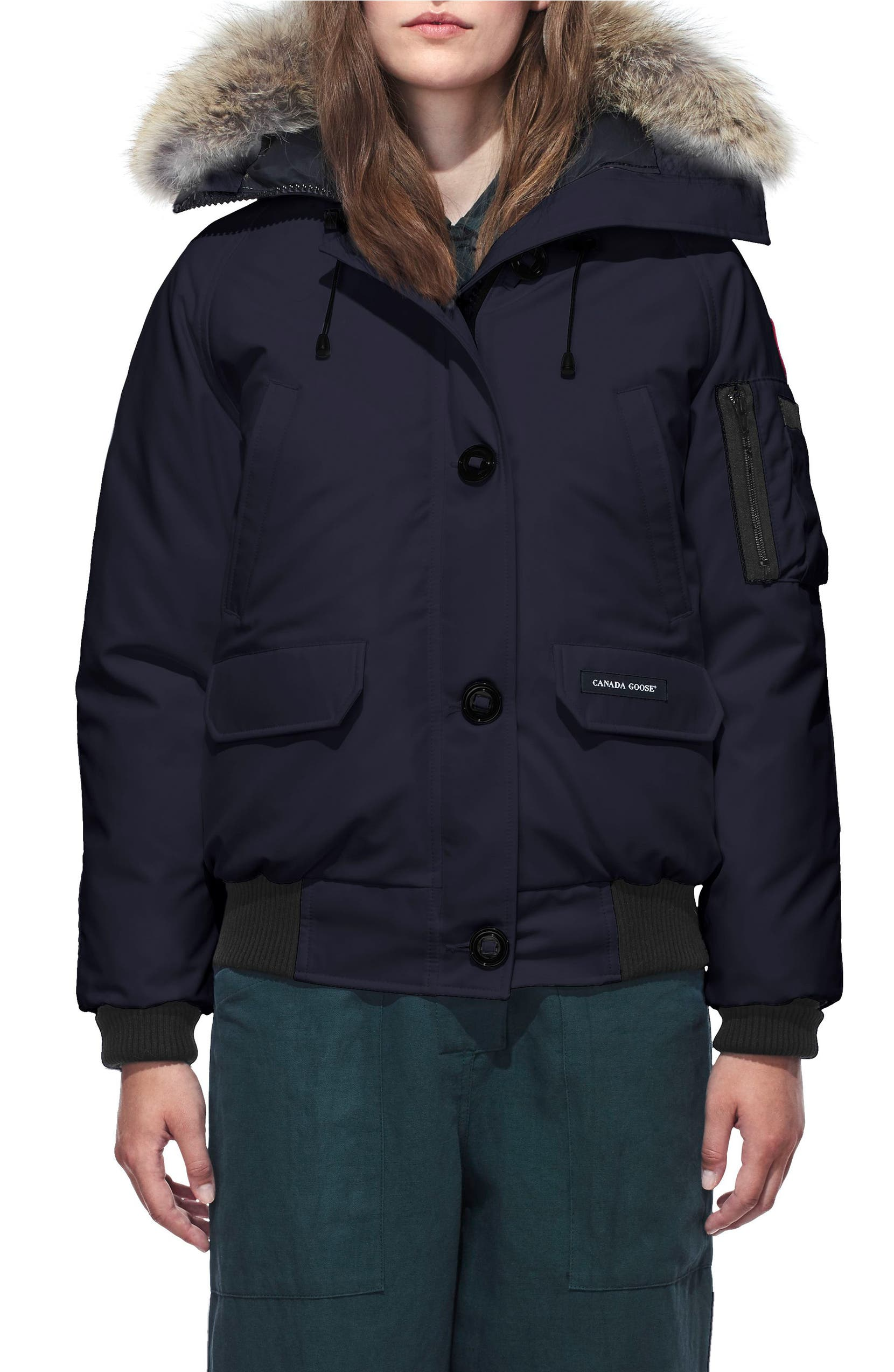 3bf1bac1c40 Canada Goose Chilliwack Hooded Down Bomber Jacket with Genuine Coyote Fur  Trim | Nordstrom