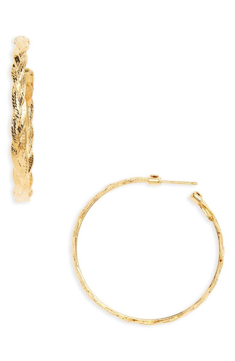 GAS BIJOUX Medium Tresse Hoop Earrings, Main, color, GOLD