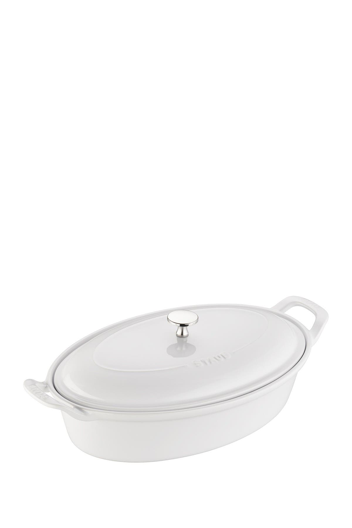 Image of Staub Ceramic 14-inch Oval Covered Baking Dish - White