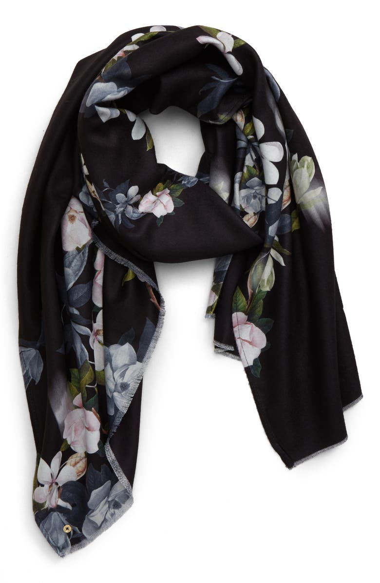 TED BAKER LONDON Opal Wide Scarf, Main, color, BLACK
