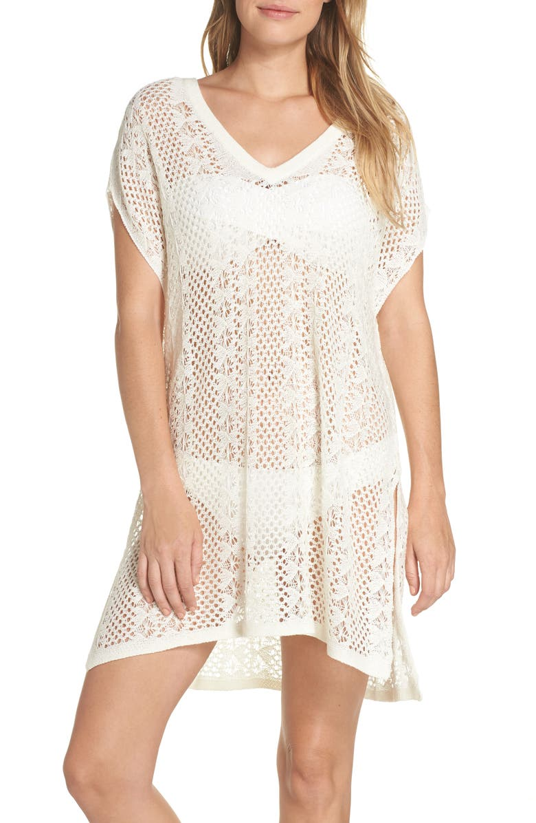 ECHO Pointelle Cover-Up Caftan, Main, color, WHITE