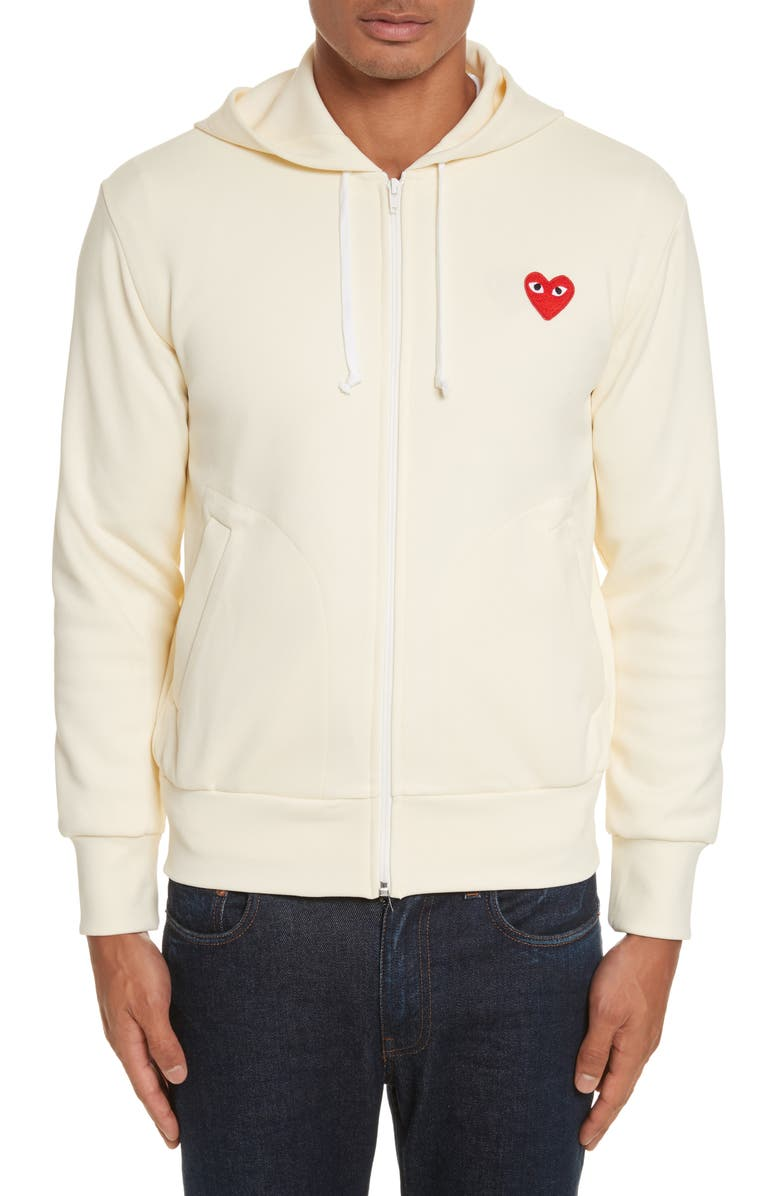 COMME DES GARÇONS PLAY Zip-Up Hoodie, Main, color, IVORY