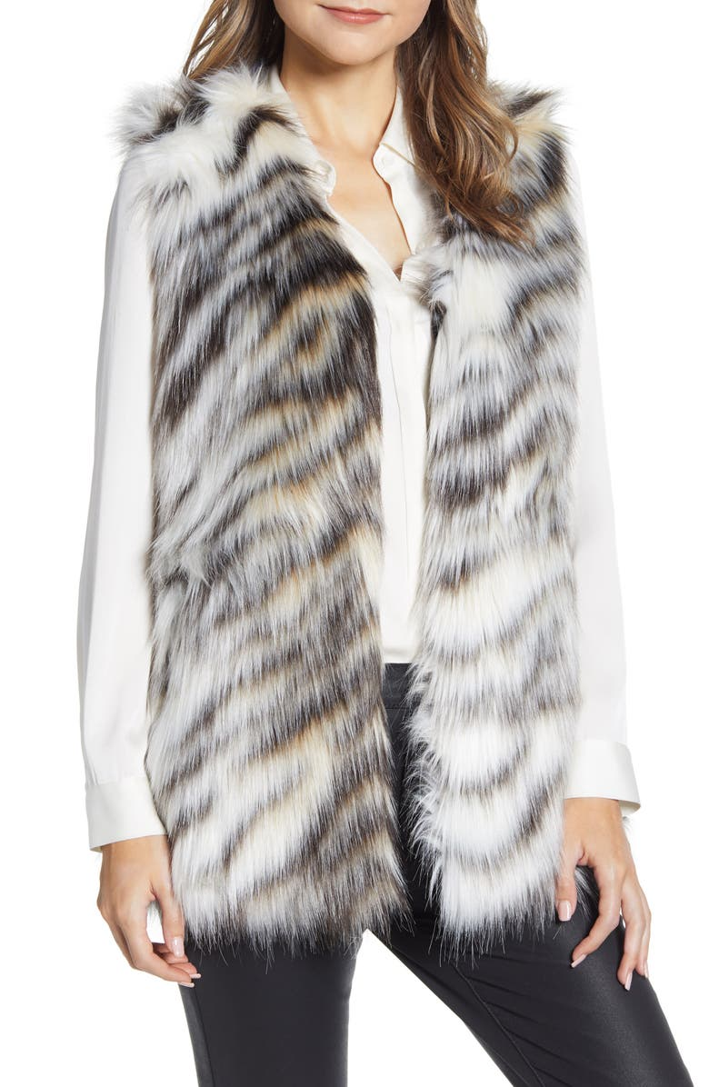 VIA SPIGA Faux Fur Vest, Main, color, CREAM/ BROWN