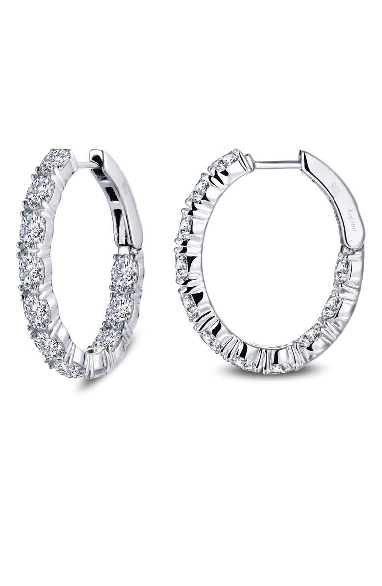 LAFONN Inside Out Simulated Diamond Oval Hoop Earrings, Main, color, SILVER/ CLEAR