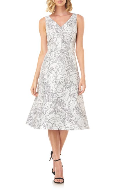 Image of Kay Unger Sketch Outline Floral Cocktail Dress