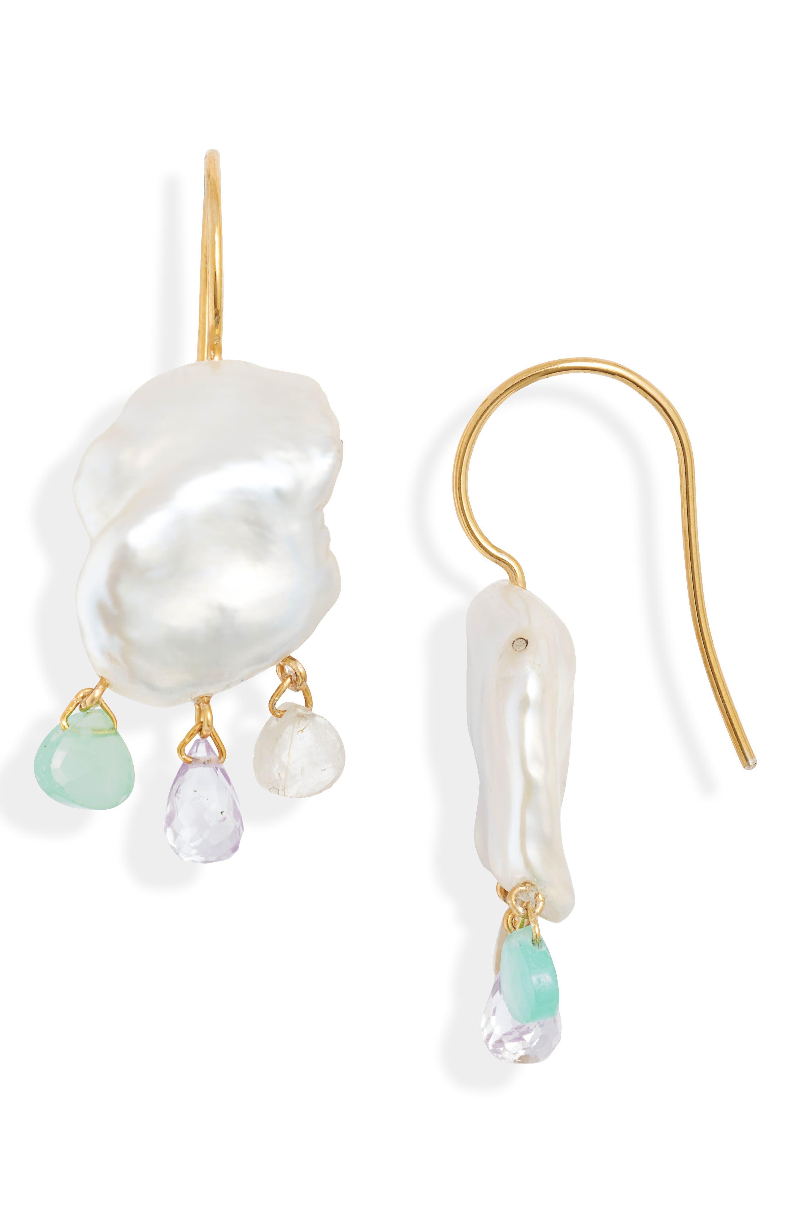 White Keshi Pearl Mix Chandelier Earrings