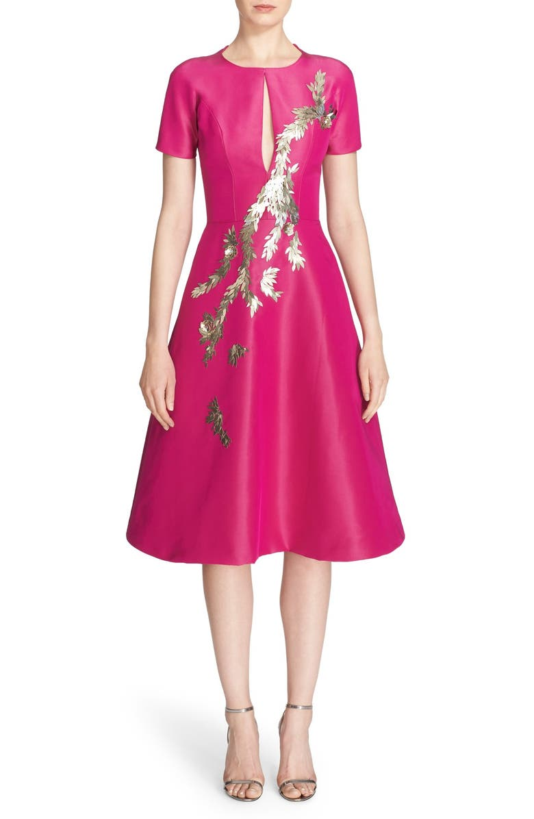PAMELLA ROLAND Embellished Silk Faille Fit & Flare Dress, Main, color, 676