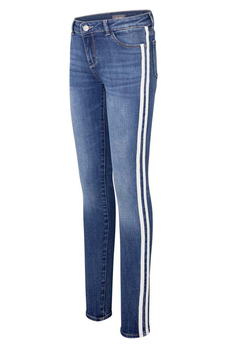 DL1961 Track Stripe Skinny Jeans, Main, color, SATURDAY