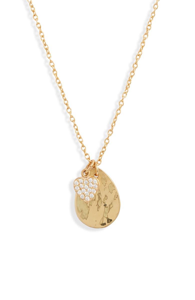 ARGENTO VIVO Heart Charm Cluster Necklace, Main, color, GOLD