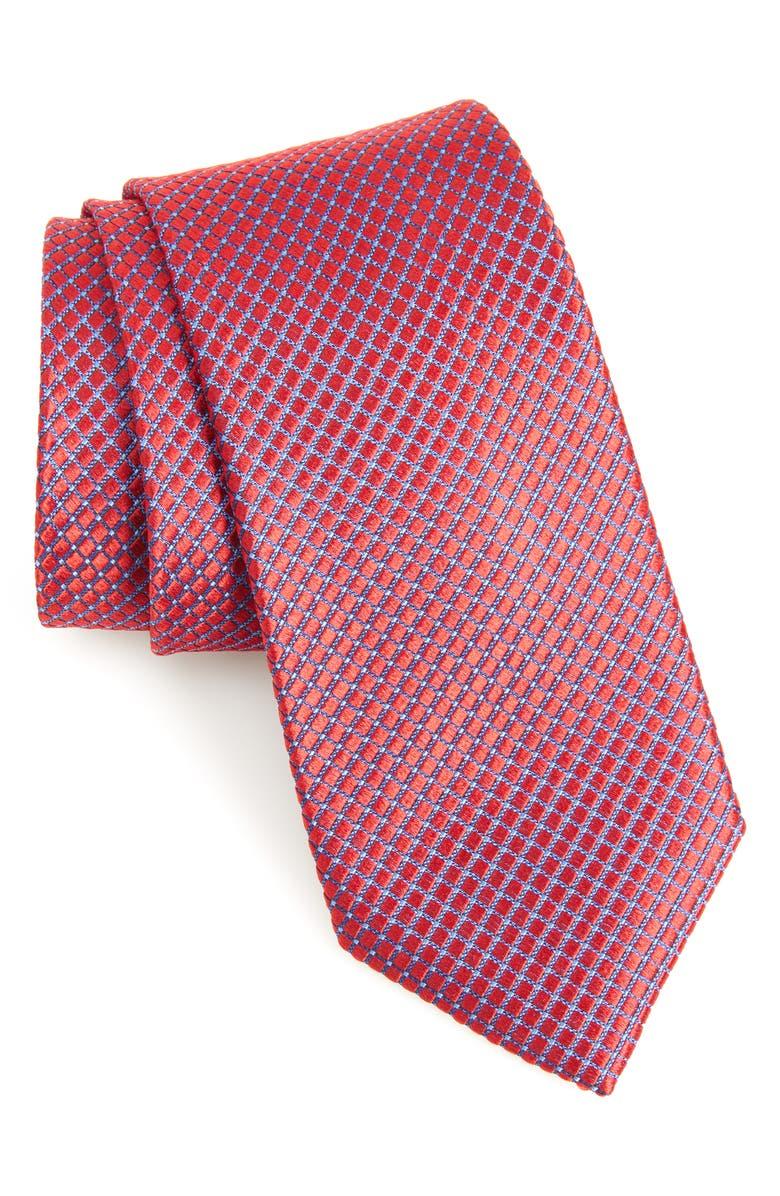 NORDSTROM MEN'S SHOP Milton Check Silk Tie, Main, color, PORT