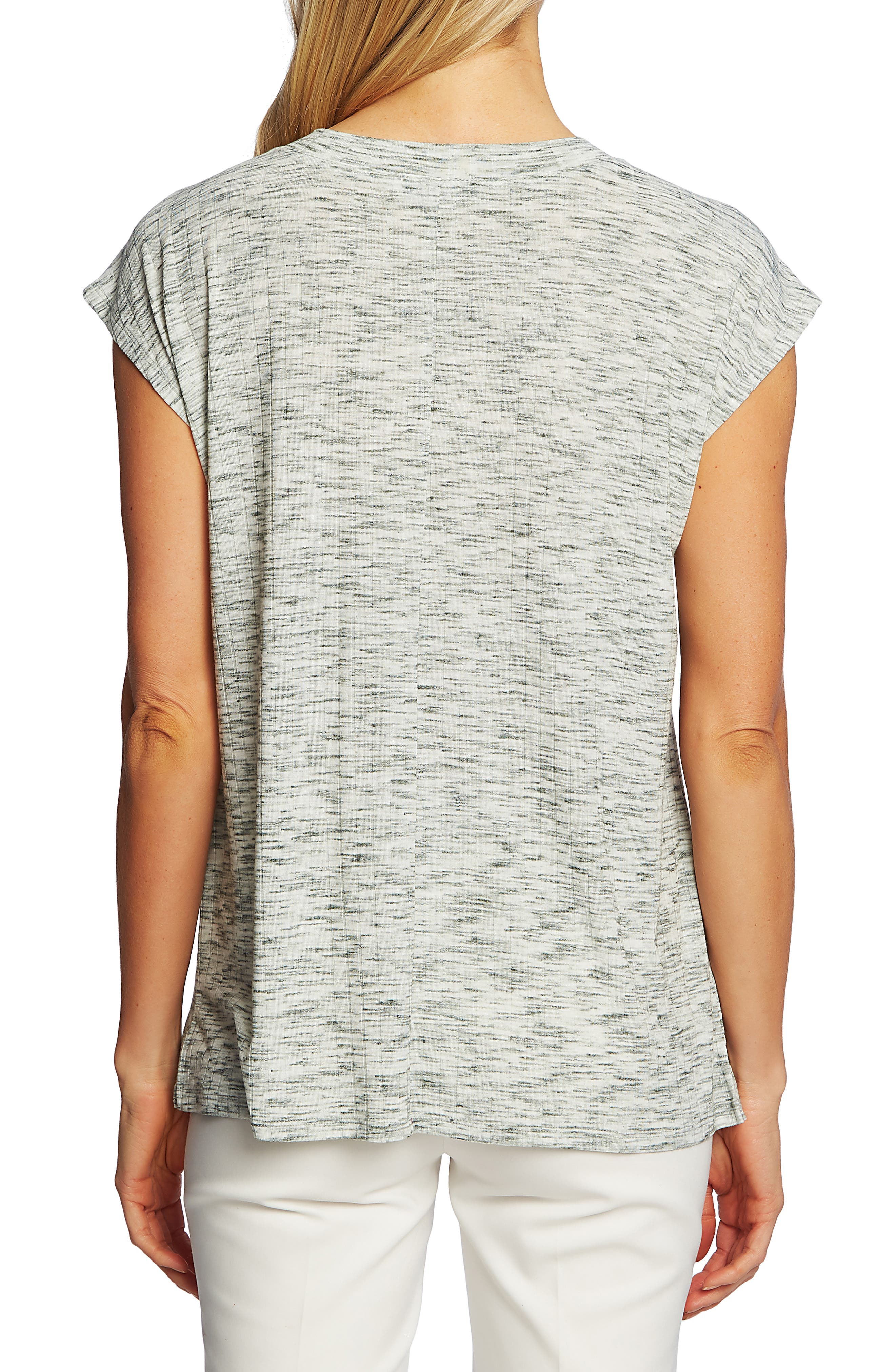 ,                             Heathered Rib V-Neck Top,                             Alternate thumbnail 2, color,                             DESERT CACTUS
