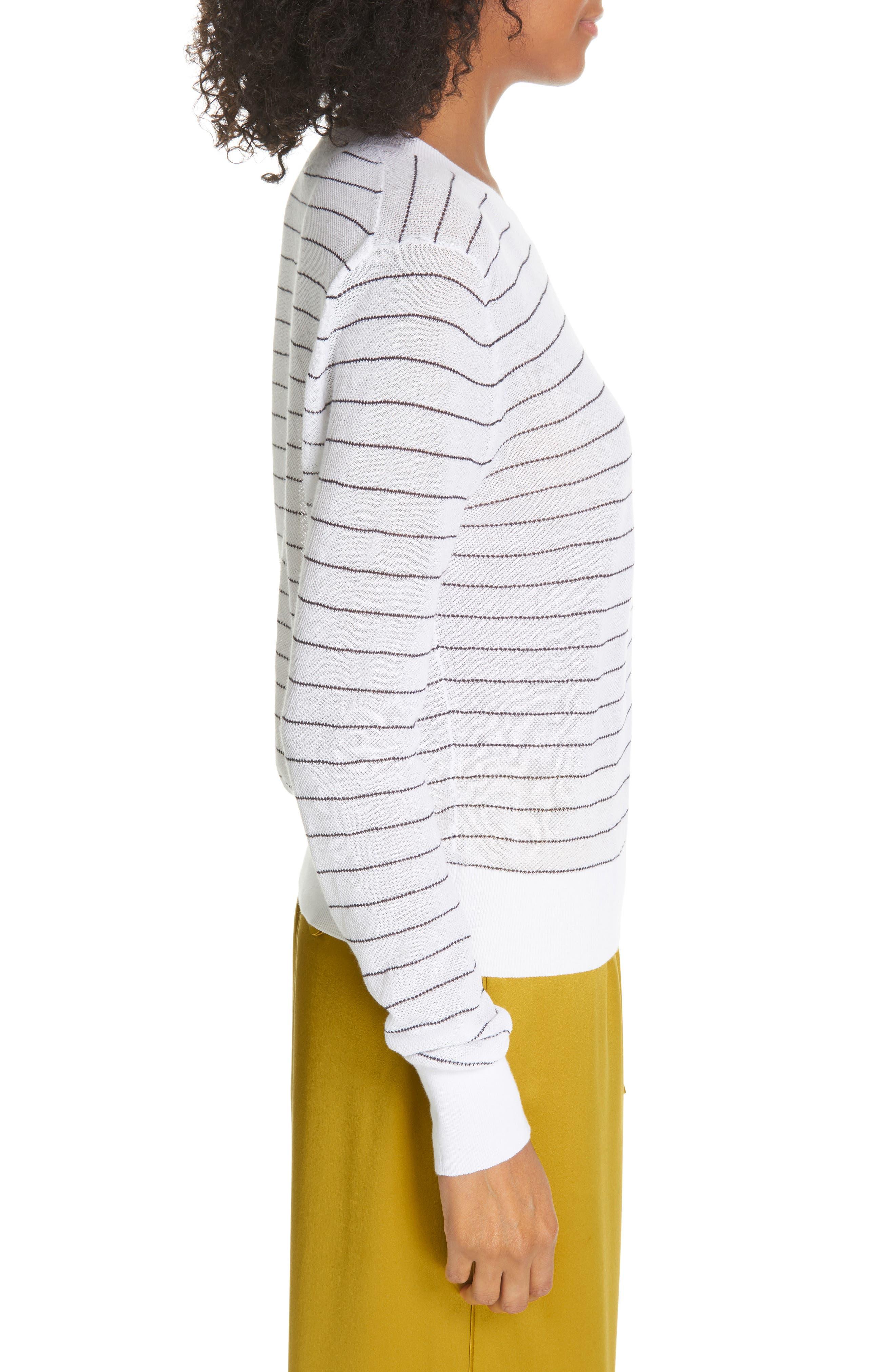 ,                             Stripe Long Sleeve Texture Knit Top,                             Alternate thumbnail 3, color,                             OPTIC WHITE/ NAVY