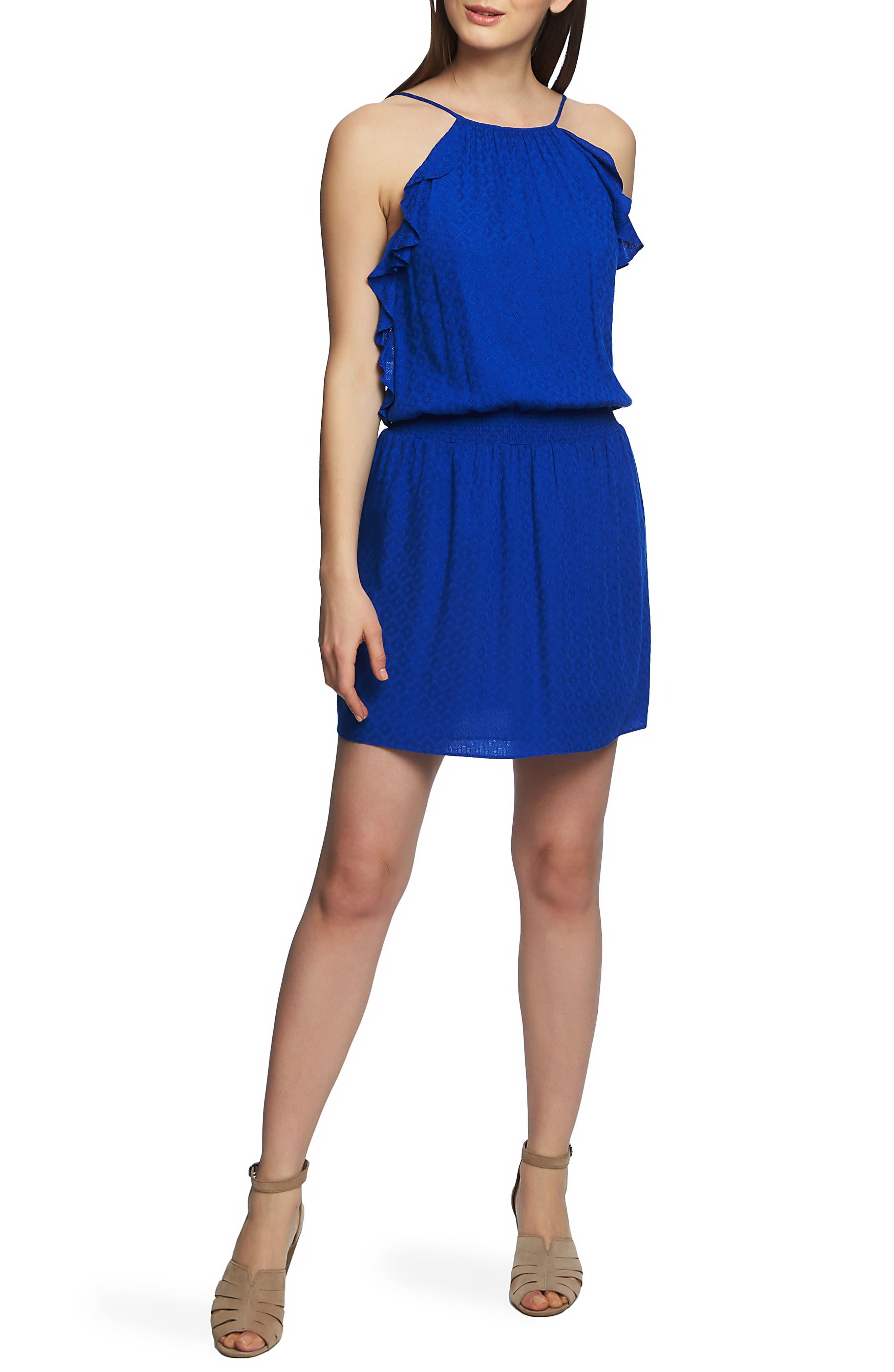 1.state Halter Neck Smocked Waist Dress, Blue