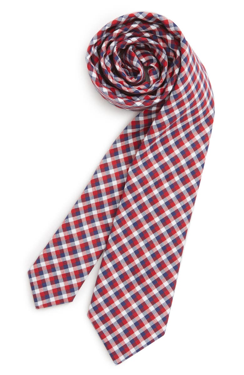 NORDSTROM Plaid Cotton Tie, Main, color, RED