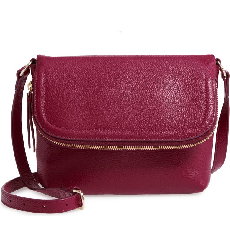 NORDSTROM Annie Leather Crossbody Bag, Main, color, BURGUNDY PLUM
