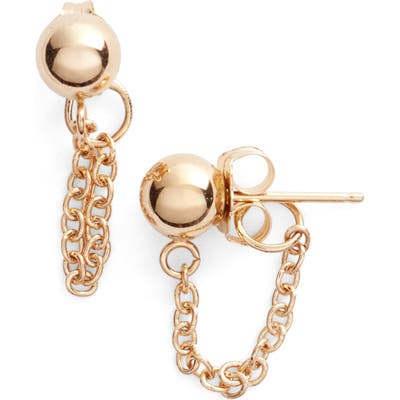Poppy Finch Gold Ball Chain Earrings