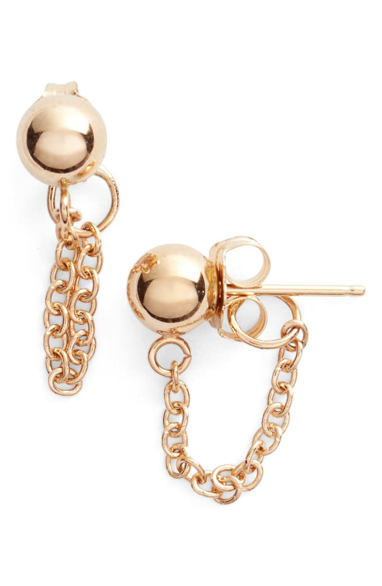 POPPY FINCH Gold Ball Chain Earrings, Main, color, YELLOW GOLD