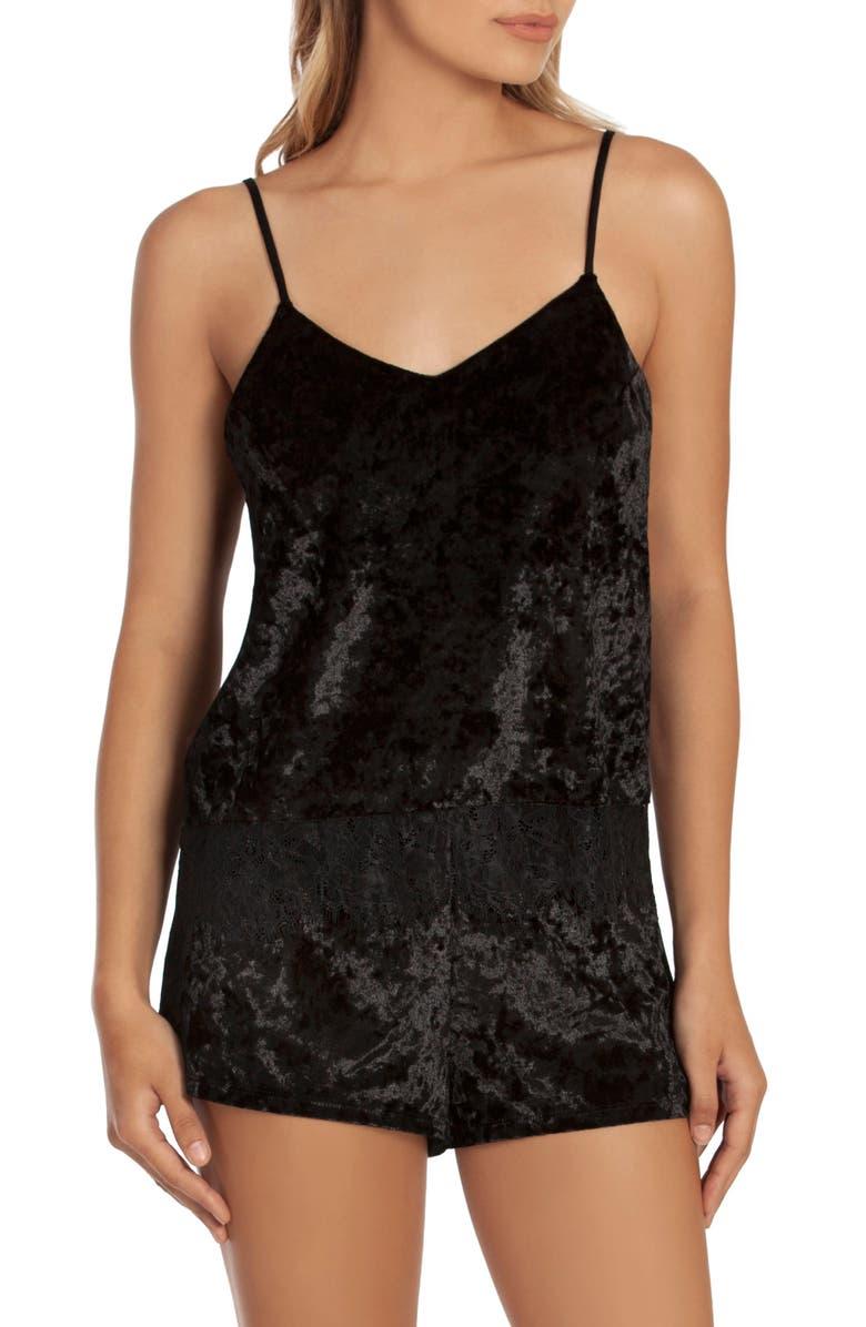 MIDNIGHT BAKERY Lace Trim Velvet Short Pajamas, Main, color, BLACK