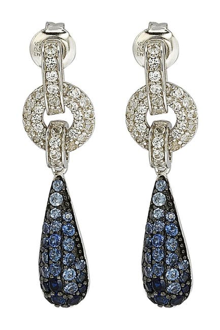 Image of Suzy Levian Sterling Silver Blue Sapphire, Created White Sapphire & Brown Diamond Earrings - 0.02 ctw