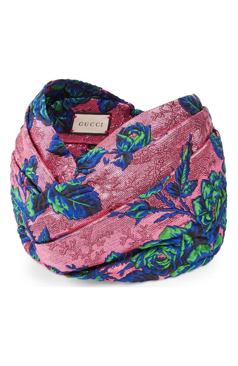 GUCCI Floral Jacquard Headband, Main, color, SIENNA