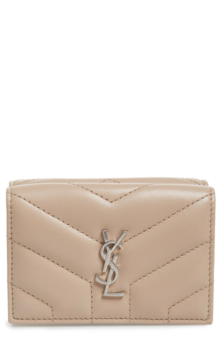 SAINT LAURENT Loulou Matelassé Leather Wallet, Main, color, DARK BEIGE