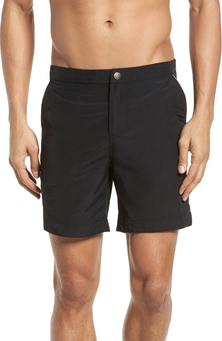 BOTO Rio Regular Fit 6.5 Inch Swim Trunks, Main, color, 001