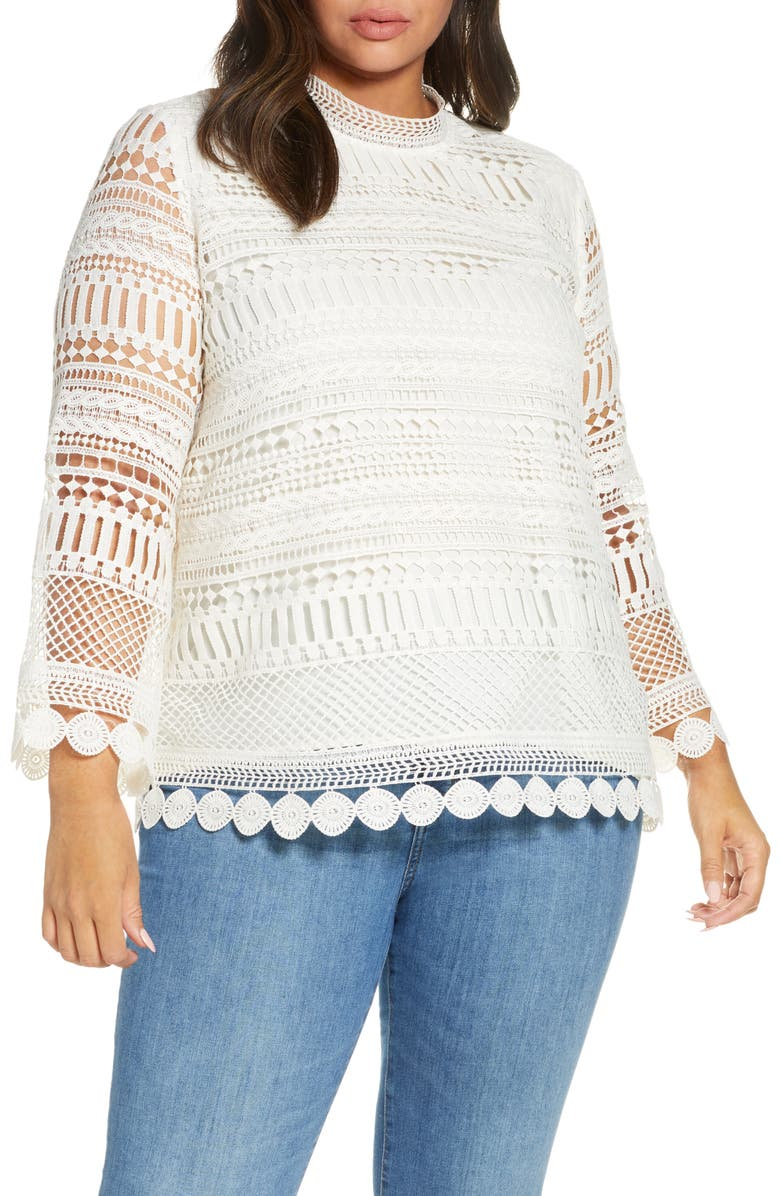 GIBSON x Glam Living in Yellow Lace Bell Sleeve Blouse, Main, color, WINTER WHITE