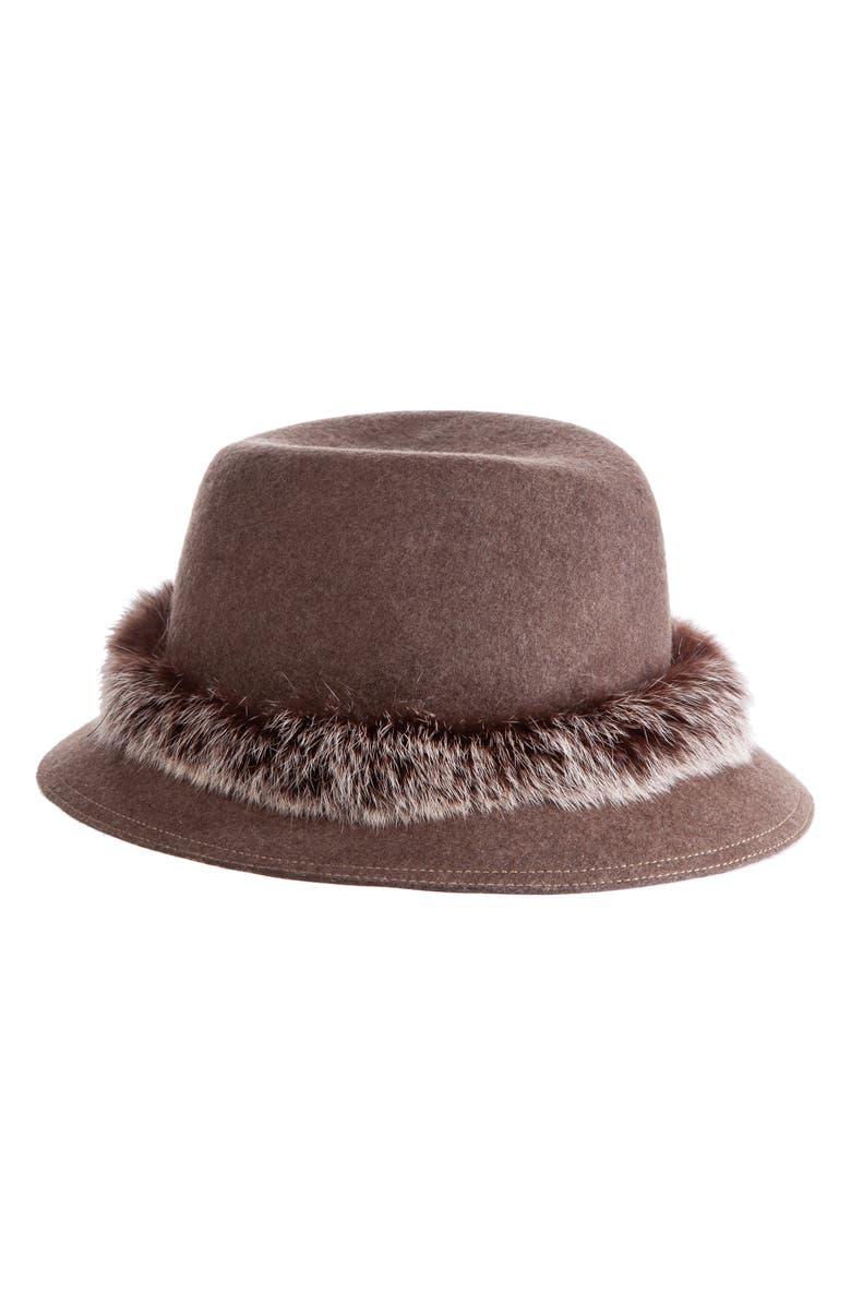 ERIC JAVITS Bunny Genuine Rabbit Fur Trim Wool Fedora, Main, color, BROWN MIX