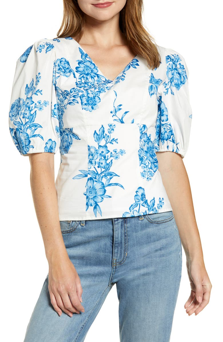 RACHEL PARCELL Puff Sleeve Top, Main, color, BLUE AIR MED BOUQUET