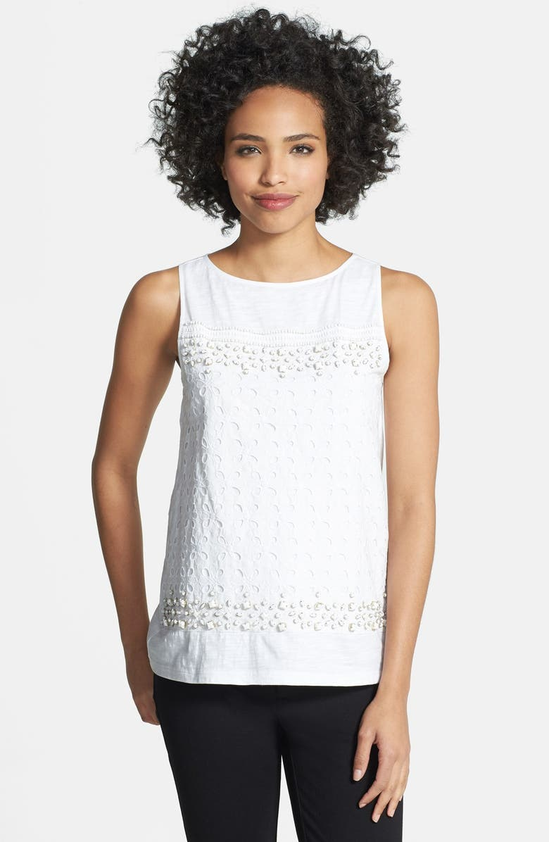 ADRIANNA PAPELL Embellished Cotton Voile Tank, Main, color, 100