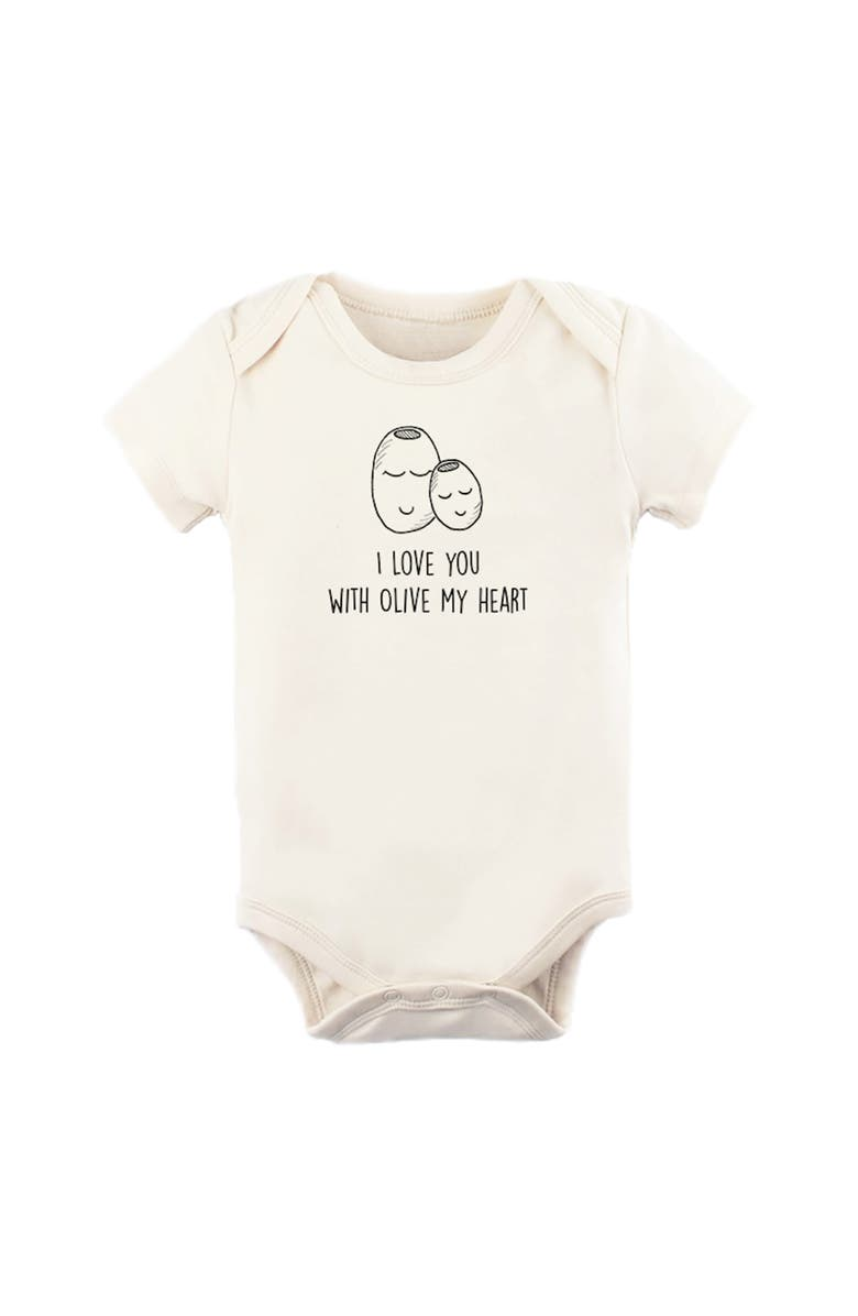 TENTH & PINE I Love You with Olive My Heart Organic Cotton Bodysuit, Main, color, NATURAL