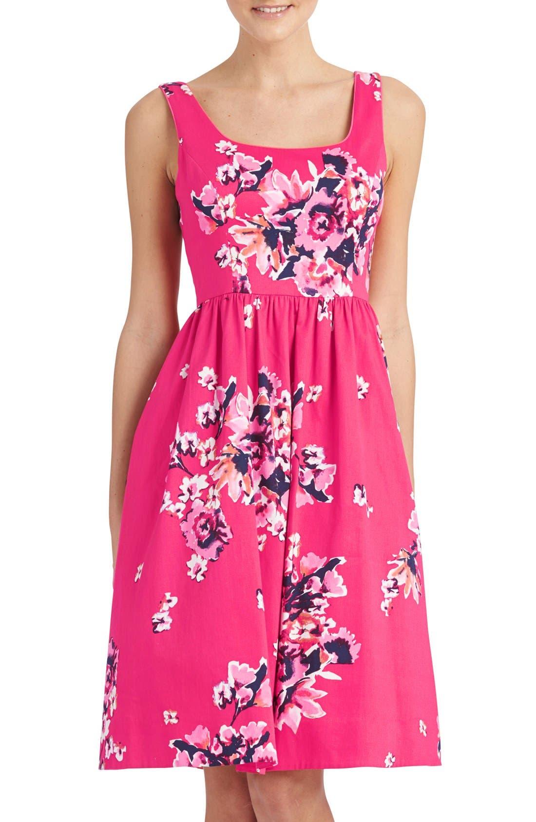,                             Print Cotton Blend Midi Dress,                             Main thumbnail 5, color,                             692
