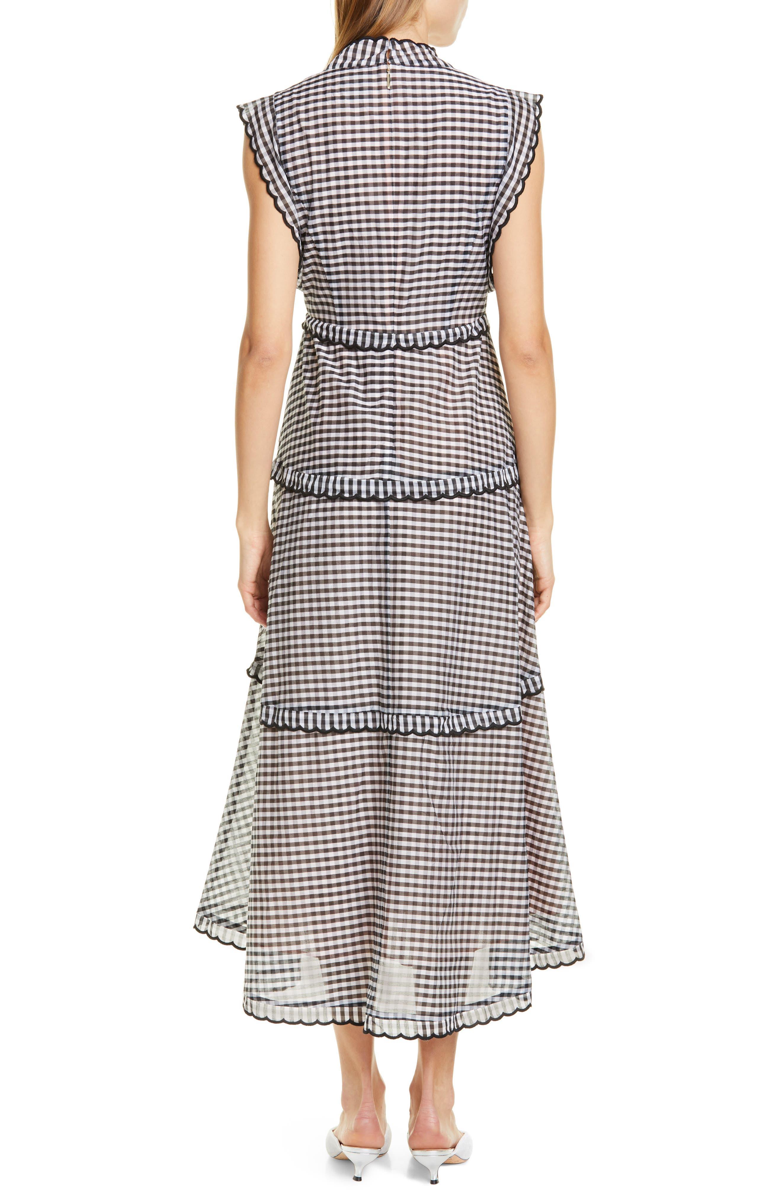 ,                             gingham midi dress,                             Alternate thumbnail 2, color,                             BLACK/ CREAM