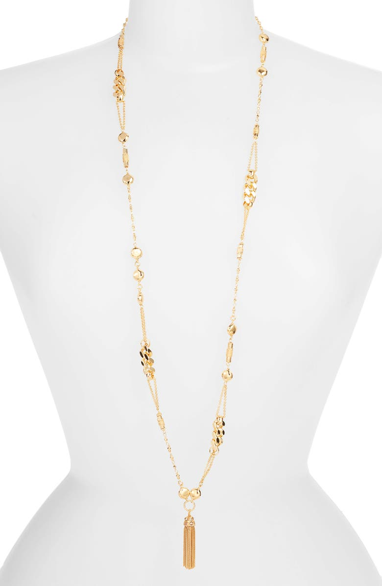 GAS BIJOUX Filou Long Tassel Pendant Necklace, Main, color, YELLOW GOLD