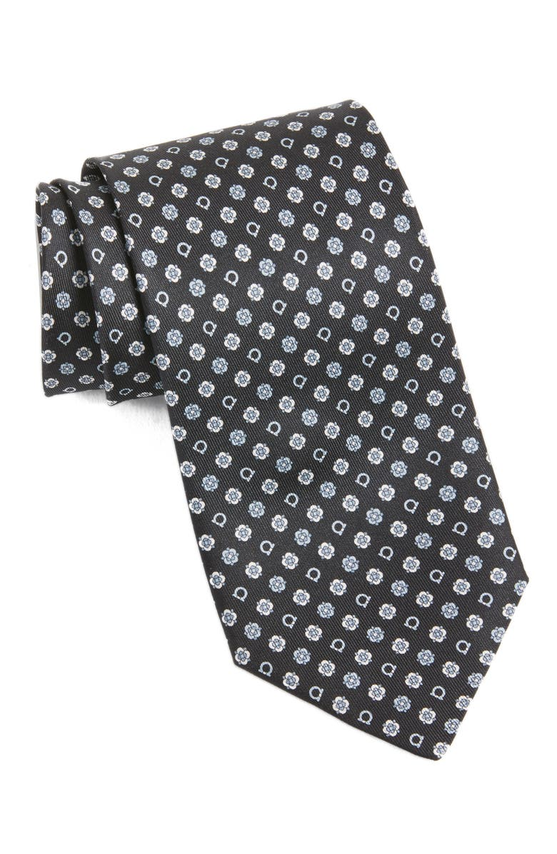 SALVATORE FERRAGAMO Gancini Medallion Silk Tie, Main, color, 001
