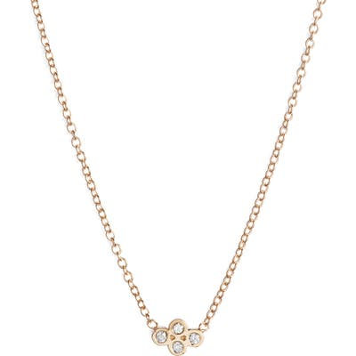 Zoe Chicco Tiny Quad Diamond Pendant Necklace