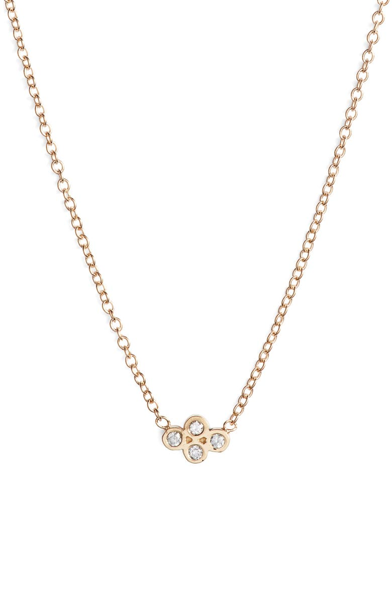 ZOË CHICCO Tiny Quad Diamond Pendant Necklace, Main, color, GOLD/ DIAMOND