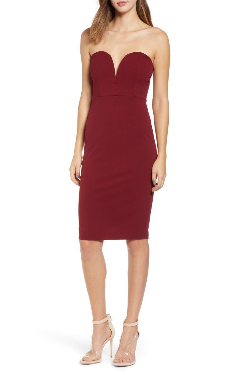 LEITH Strapless Sheath Dress, Main, color, RED GRAPE