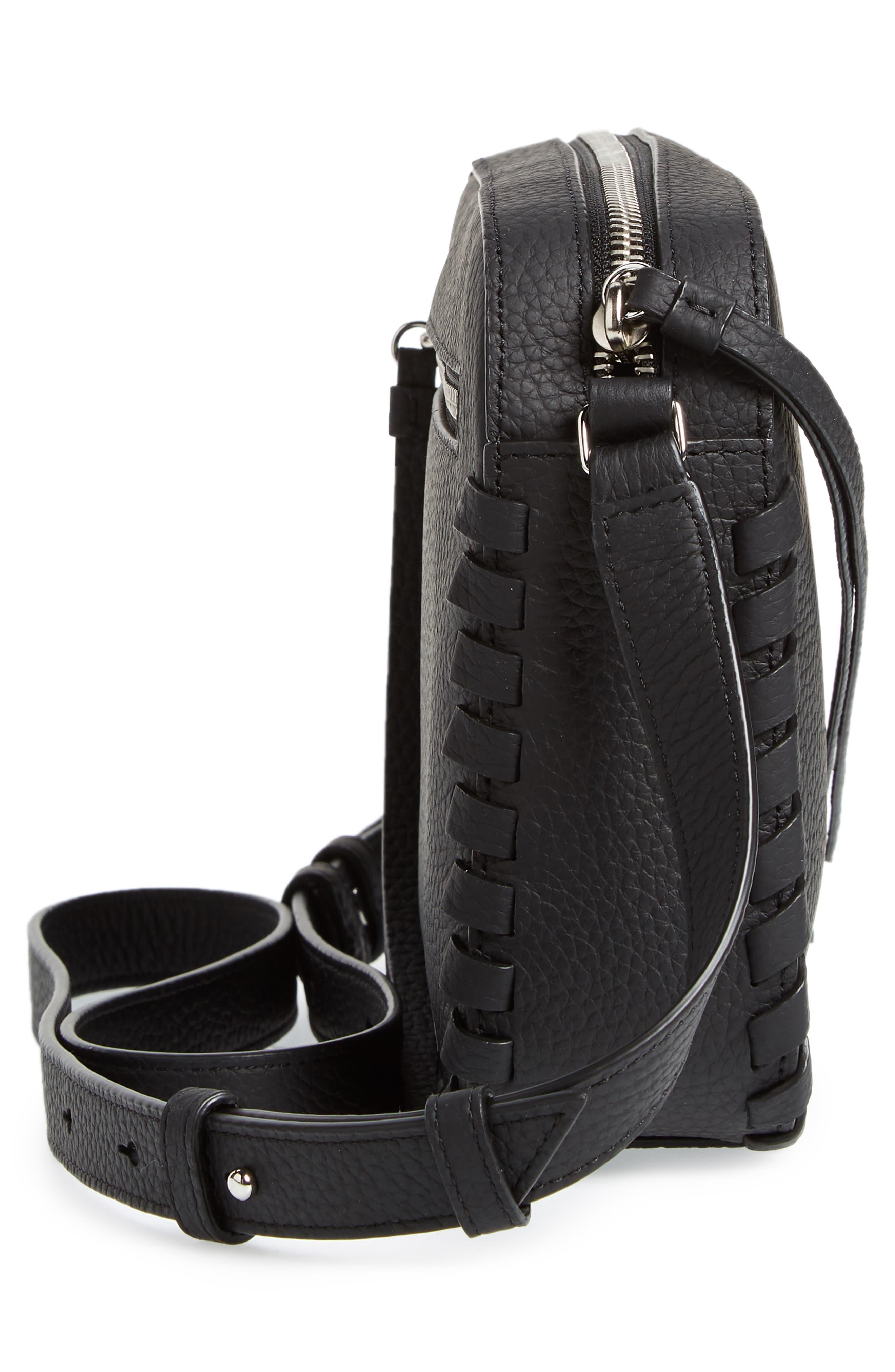 ,                             Kepi Mini Leather Crossbody Bag,                             Alternate thumbnail 6, color,                             BLACK