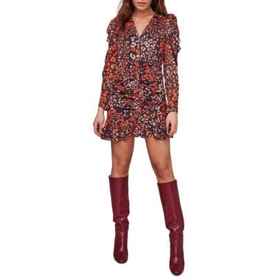 Astr The Label Mimi Leopard Print Long Sleeve Minidress, Red