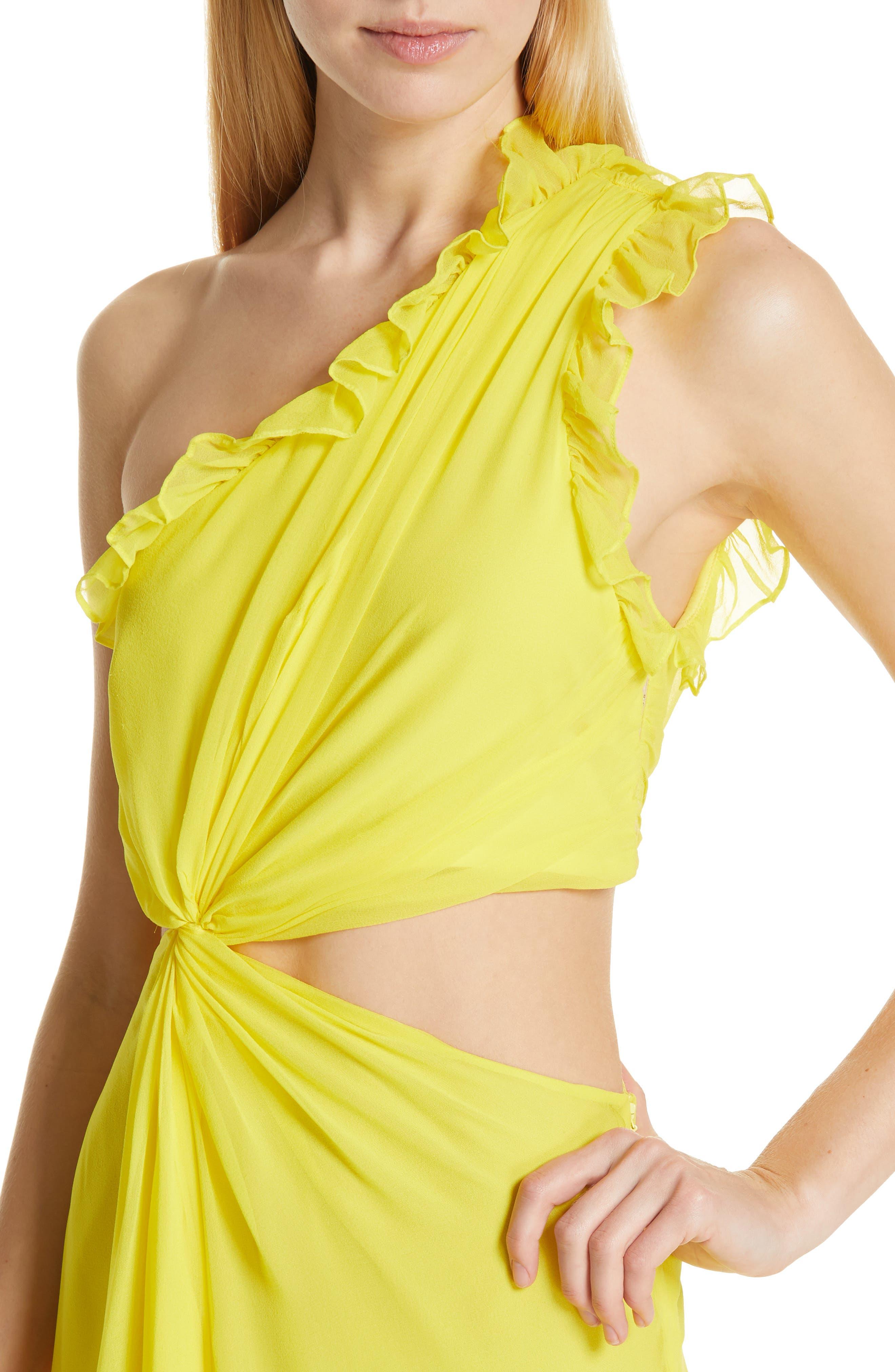 ,                             Corinne One-Shoulder Silk Dress,                             Alternate thumbnail 4, color,                             BLAZING YELLOW