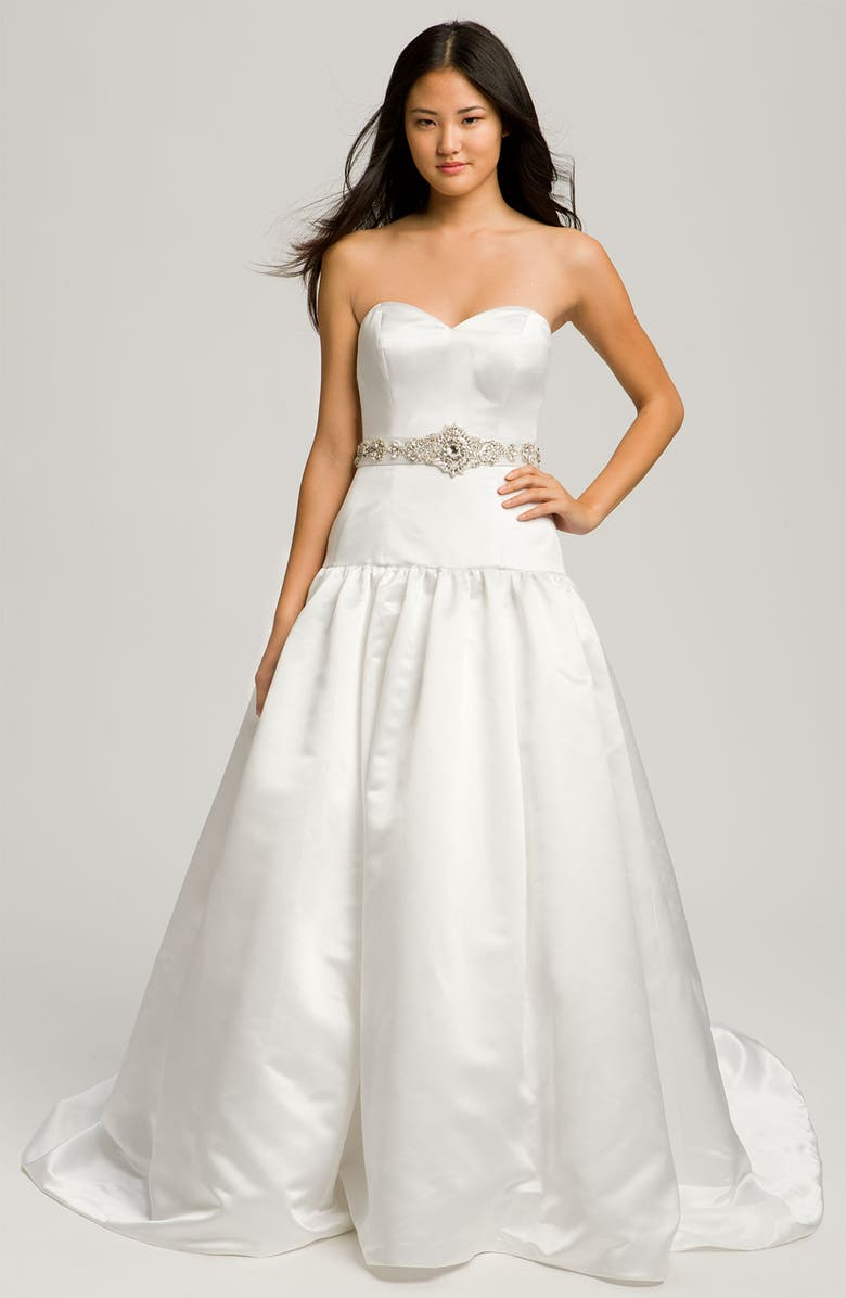 FAVIANA 'Megan' Strapless Satin Gown, Main, color, 100