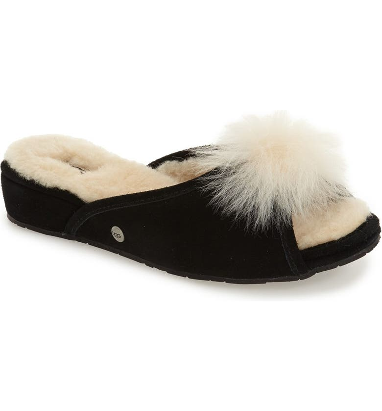 d42bc635e6d Yvett Open Toe Slipper with Genuine Shearling Pom