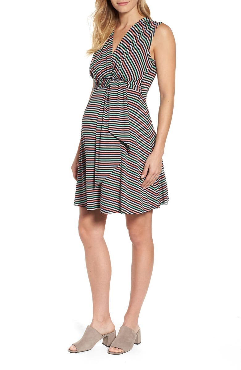 MATERNAL AMERICA Tie Front Maternity Dress, Main, color, CANDY STRIPES